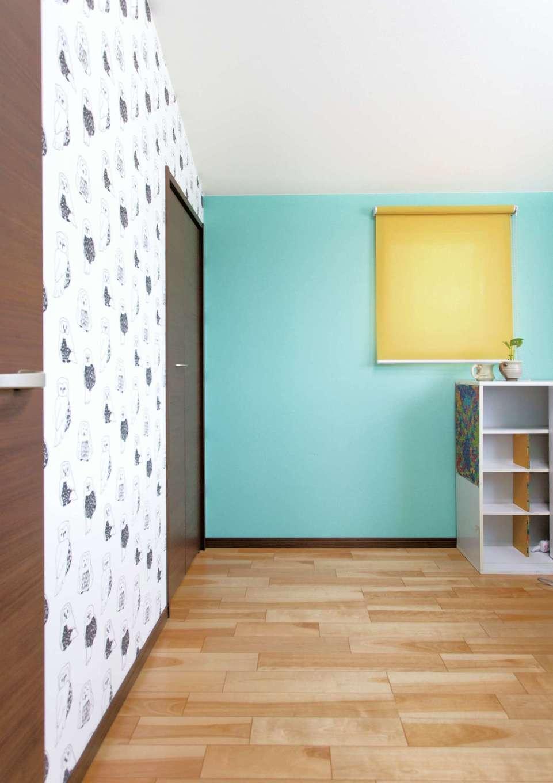 かなめ創建【趣味、狭小住宅、インテリア】将来に向け用意した子ども部屋はパステルカラーに