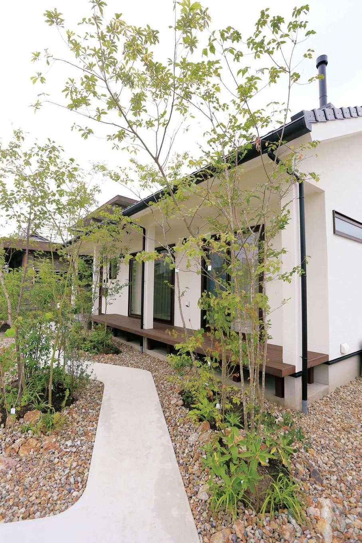 アイジースタイルハウス【デザイン住宅、自然素材、省エネ】雑木林の小径のようなアプローチはママ友からも大好評。縁側のようなウッドデッキはアウターリビングとしても使える