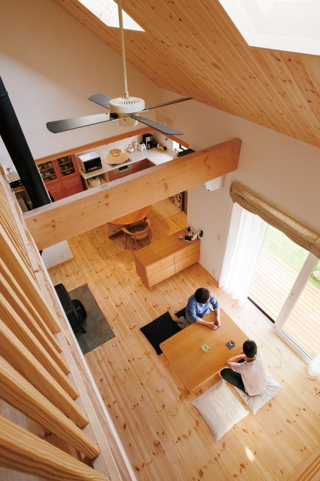 アイジースタイルハウス【デザイン住宅、自然素材、省エネ】2階ホールからの眺め。きれいな空気が家中を循環する