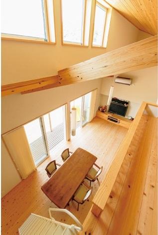 KOUBOU STYLE 建築工房相良【自然素材、省エネ、平屋】ロフトから見下ろしたLDK。上下の窓から心地よく陽光が注ぎ、冬は暖かく、夏は風通しの良い心地よさが続く
