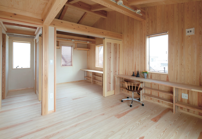 家族構成の変化にも対応可能な、間仕切位置の変えられる空間。子ども用勉強机として造り付けられた杉のカウンター。下は書棚に。正面の壁には木を張り、子どもの作品等を飾れる