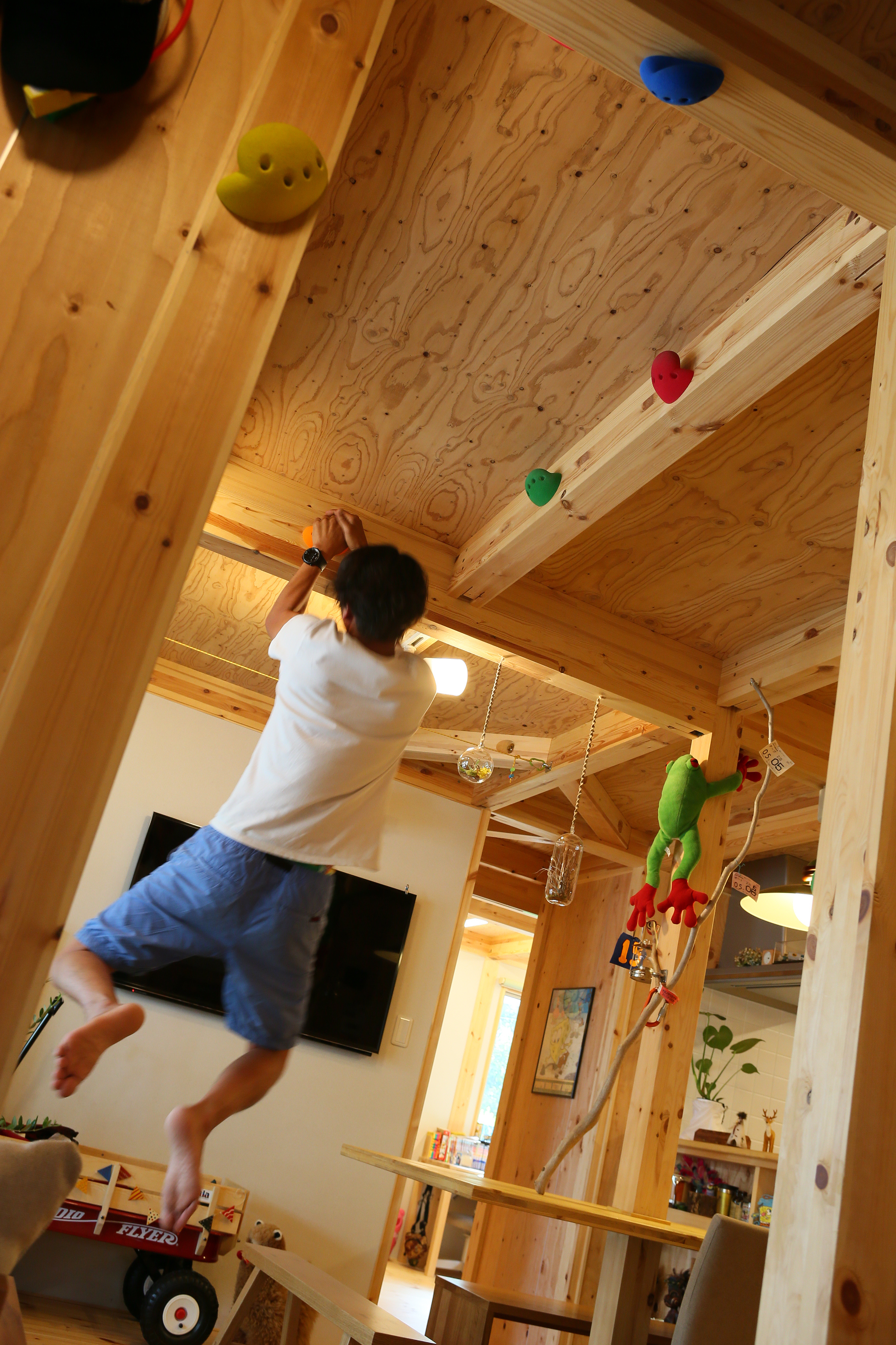 BinO志太・榛原 マルジン総建【子育て、自然素材、平屋】ボルタリングのホールドは見るだけではなく、使用することも可能。趣味がインテリアになり、遊び心をくすぐる
