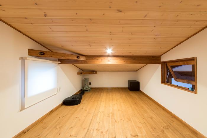 BinO志太・榛原 マルジン総建【デザイン住宅、子育て、スキップフロア】追加仕様で収納スペースを。季節ものをしまっておくのに最適。ミニシアタールームとして使うことも可能