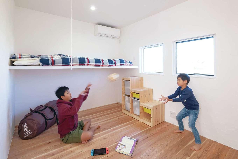 ソラマド静岡(オネストホーム)【デザイン住宅、間取り、平屋】子ども部屋にはロフト感覚で使える吊り床を採用。空間を有効に使う「ソラマドの家」からの提案だ