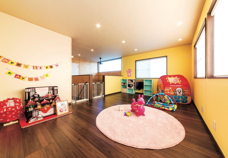 ホームプラザ大東【デザイン住宅、趣味、インテリア】子どもが小さいうちは広々と遊べる空間を確保。将来は分割して個室にする予定