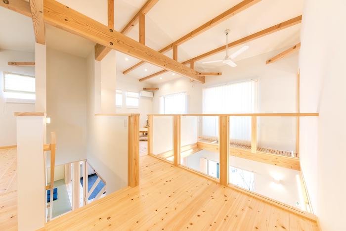 福工房【静岡市駿河区桃園町1-1・モデルハウス】2階も開放感たっぷり。比較的手頃な費用で間仕切りも可能