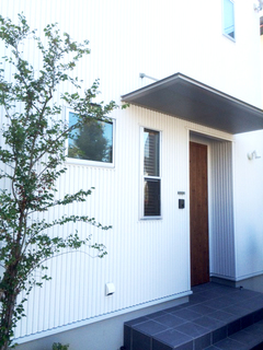 白いガルバリウムの外観が際立つ、栗の床や漆喰の壁のある家