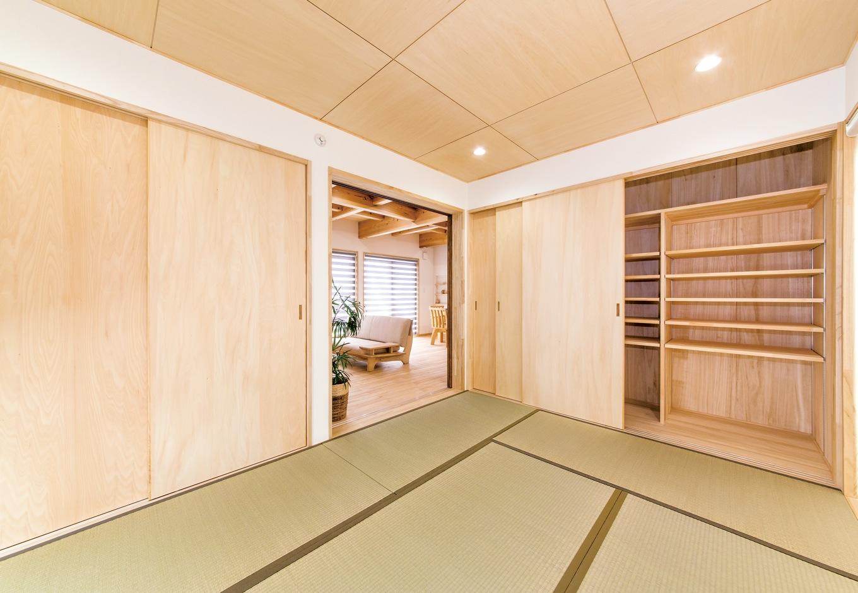 リビングに接した和室。押し入れとは別に大きなクローゼットを設けてあり、将来世帯が増えても対応できる