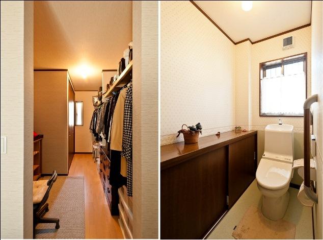 石上建設【子育て、収納力、二世帯住宅】収納力のあるウォークインクローゼットは、通路を挟んで反対側に既存のタンスや布団など大きなものも収納できる。また、窓の配置により寝室からの風通しもしっかり確保した。トイレには家具のようなカウンター収納を設置し、買い置きのペーパーもたっぷり収納できるように。必要なものを必要な場所に収納できる工夫がされている。