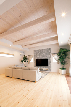 愛車と共に暮らす、全室塗り壁の心地良い空間