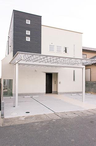 五朋建設【デザイン住宅、二世帯住宅、屋上バルコニー】『五朋建設』ならではの、シンプルでありながらエッジの利いた外観フォルム