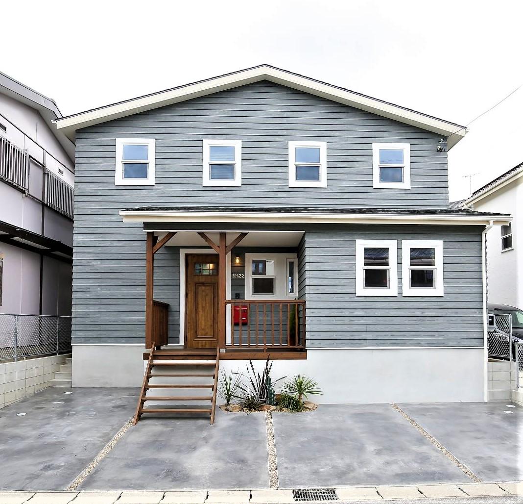 サンエフホーム【デザイン住宅、自然素材、インテリア】周囲で一際存在感のある、デザイン性の高い外観