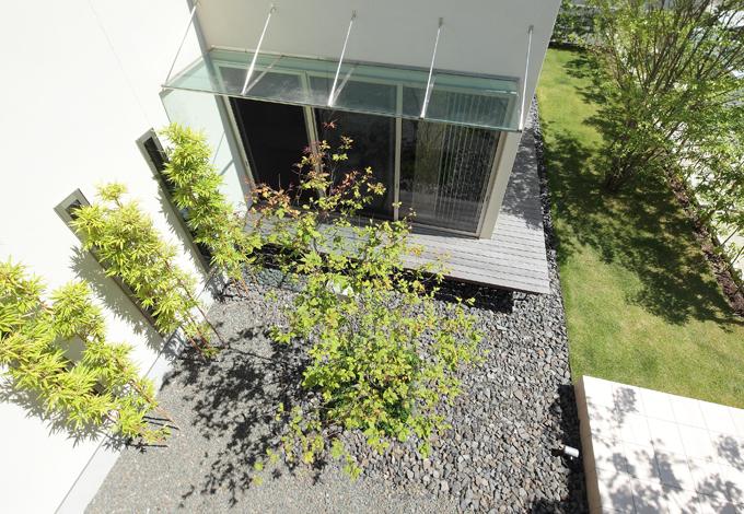 久保田建設【デザイン住宅、趣味、間取り】中庭の中央には落葉樹のナツハゼ。繊細な形状が美しいガラスの庇はオリジナル