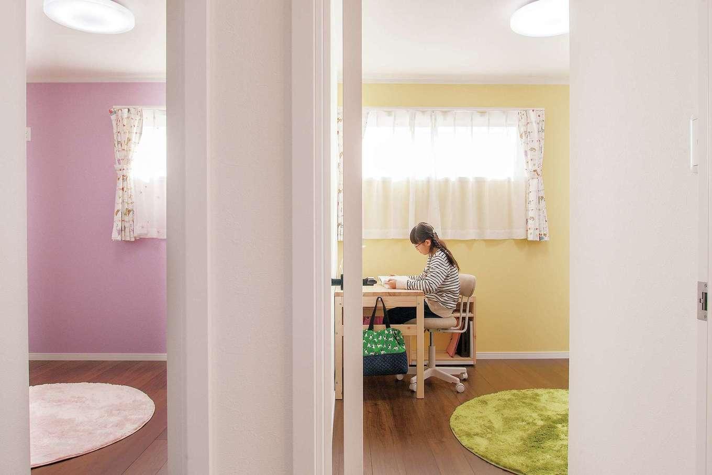 ハートホーム【子育て、輸入住宅、二世帯住宅】子ども部屋はお子さまたちが好きなカラーを選択