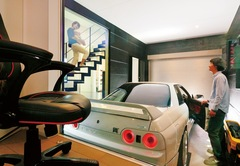 どこからでも愛車が見える自然素材のガレージハウス