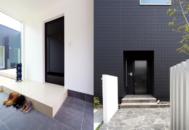 近代的なミュージアムのような表情を見せる玄関アプローチ。石畳を歩くと、なんとも言えない高揚感に満たされていく。大きなFIXの窓越しに中庭が見える玄関ホール。ピアノのような輝きを放つ黒い引き戸は「EAZY」。イタリア直輸入のアウトセットドア