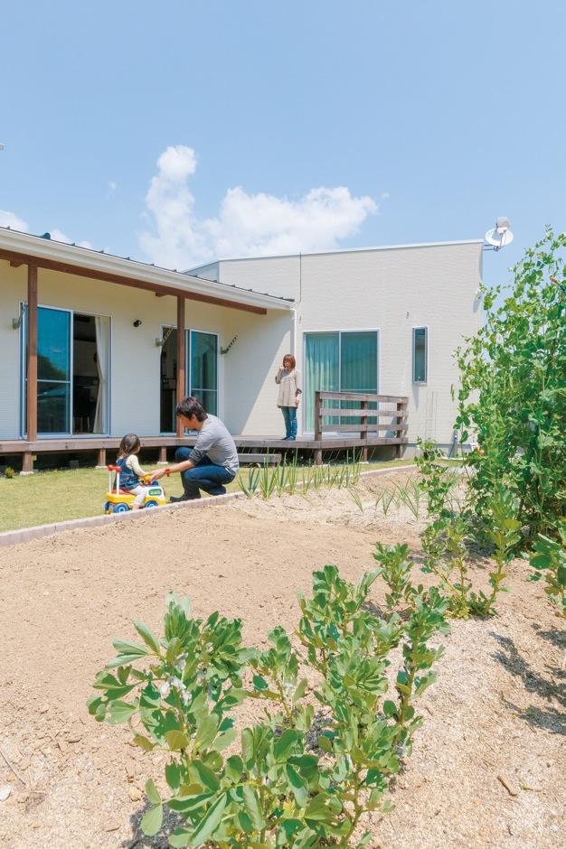 納得住宅工房【デザイン住宅、自然素材、インテリア】ご夫妻の夢を叶えた家庭菜園。土と戯れながら、子どもものびのび育つ