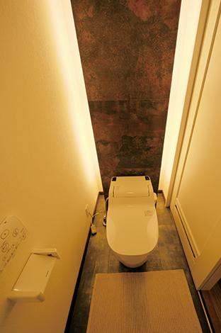 住宅工房 アリアンス【デザイン住宅、省エネ、インテリア】高級ホテル並みに豪華に見えるトイレ。前衛的なデザ インのタイルと照明の絶妙なコラボは『アリアンス』ならでは