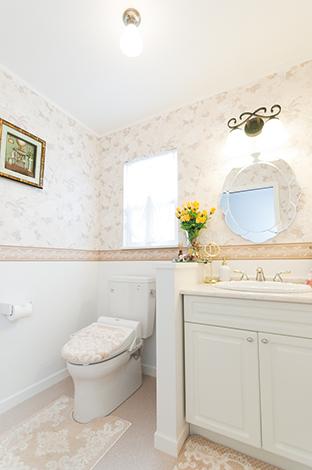 ハウテックス【輸入住宅、趣味、間取り】アメリカの映画に出てくるようなおしゃれな洗面・トイレ