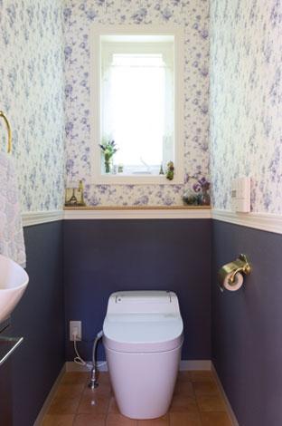 セルコホーム三島 西田工務店【デザイン住宅、子育て、輸入住宅】青の色調でまとめたトイレは西洋の雰囲気