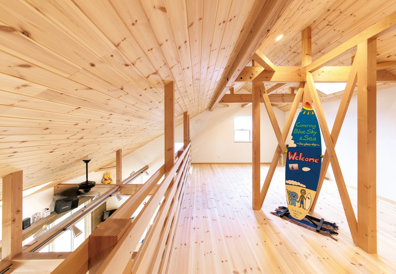 富士ホームズデザイン【デザイン住宅、趣味、建築家】2階は広いまま使用。子どもができたら仕切りを作って部屋にする予定