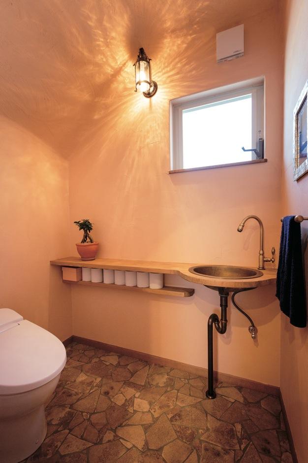 富士ホームズデザイン【デザイン住宅、子育て、趣味】トイレは洞窟のイメージで奥の壁と天井をアールに。不思議と落ち着ける空間だそう