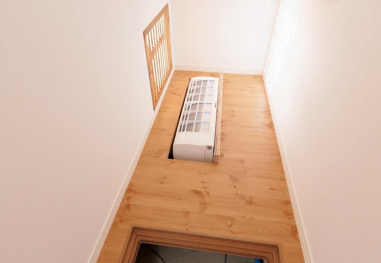 Sanki Haus(サンキハウス)静岡三基【輸入住宅、自然素材、省エネ】階段下のスペースに設置されている床下暖房用のエアコンは普通の壁掛けエアコンだそう。基礎は「ポスト型ベタ基礎」を採用。しっかりと断熱し、温風の通り道をつくることによって暖房効率を高めている