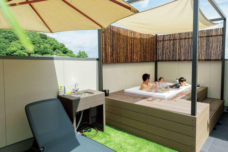 スタイルカーサ【趣味、間取り、屋上バルコニー】ジャグジーはジェットバス仕様。大きな浴槽で優雅なひとときを満喫