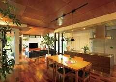 グリーンに癒されながら暮らす 大空間リビングと中庭のある家