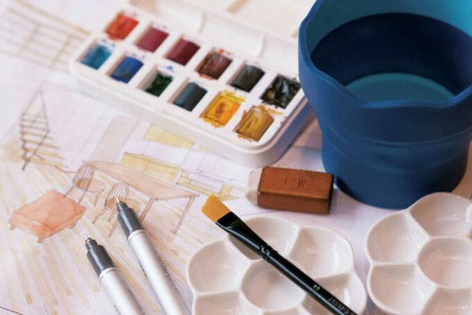 絵の具で仕上げる手描き設計図
