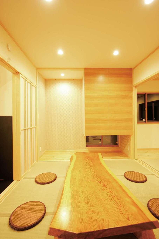 住まいるコーポレーション【デザイン住宅、自然素材、平屋】LDKの続き間の和室は、寝室ともつなげて利用できる