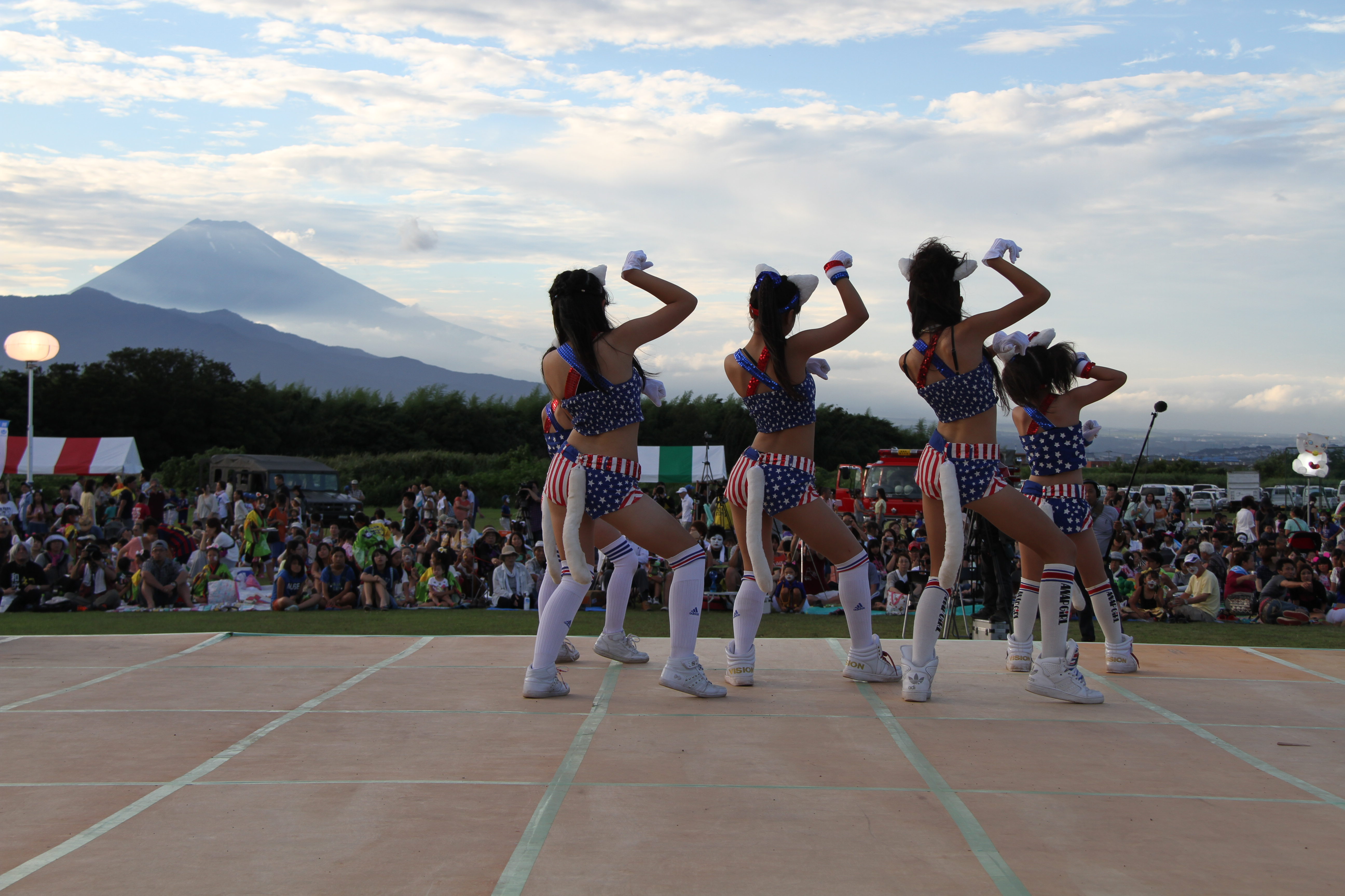 参加者が猫の化粧をして踊る「かんなみ猫おどり」(写真提供:函南町)