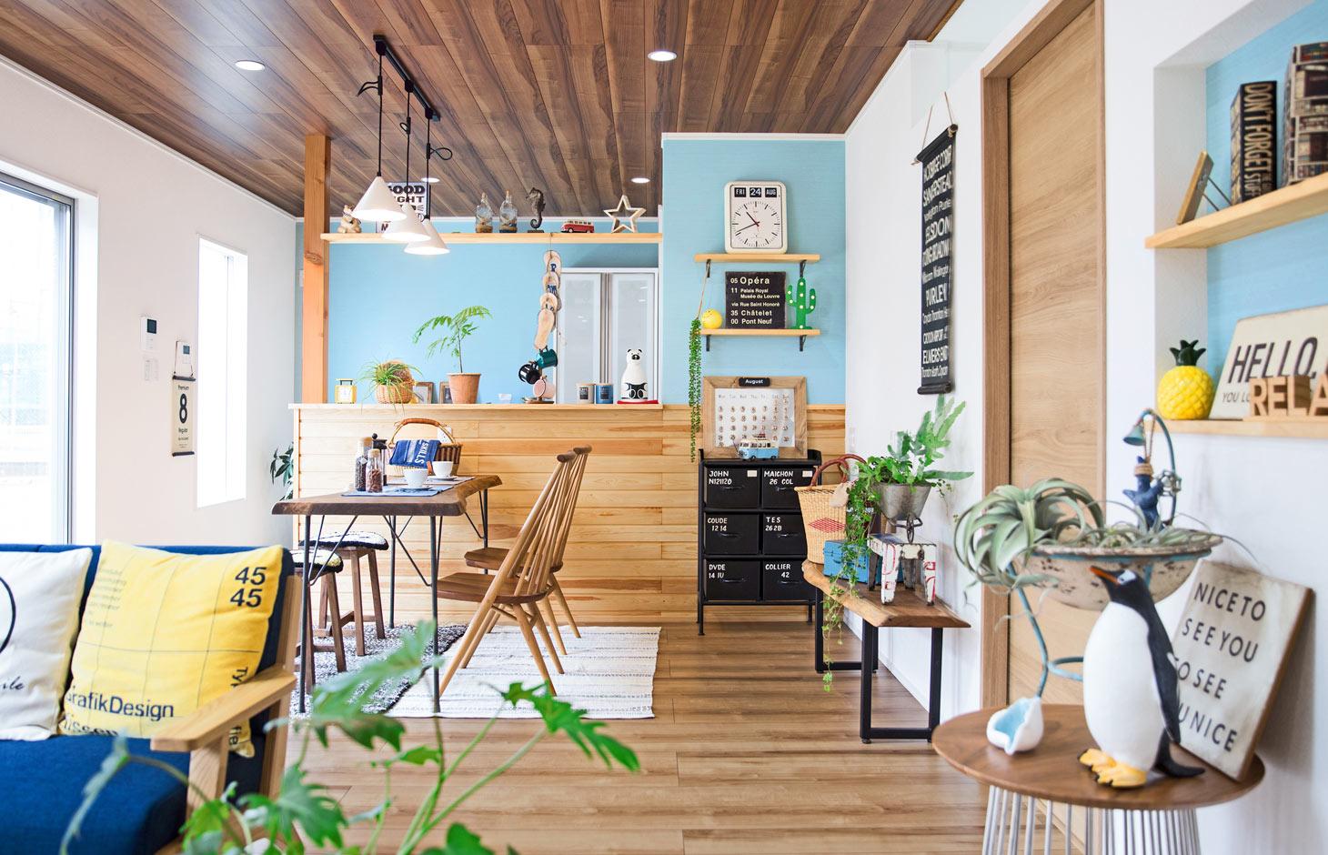 illi-to design 鳥居建設21【デザイン住宅、趣味、省エネ】木の風合いに濃淡のブルーが合わさり、ナチュラルで優しい雰囲気になった