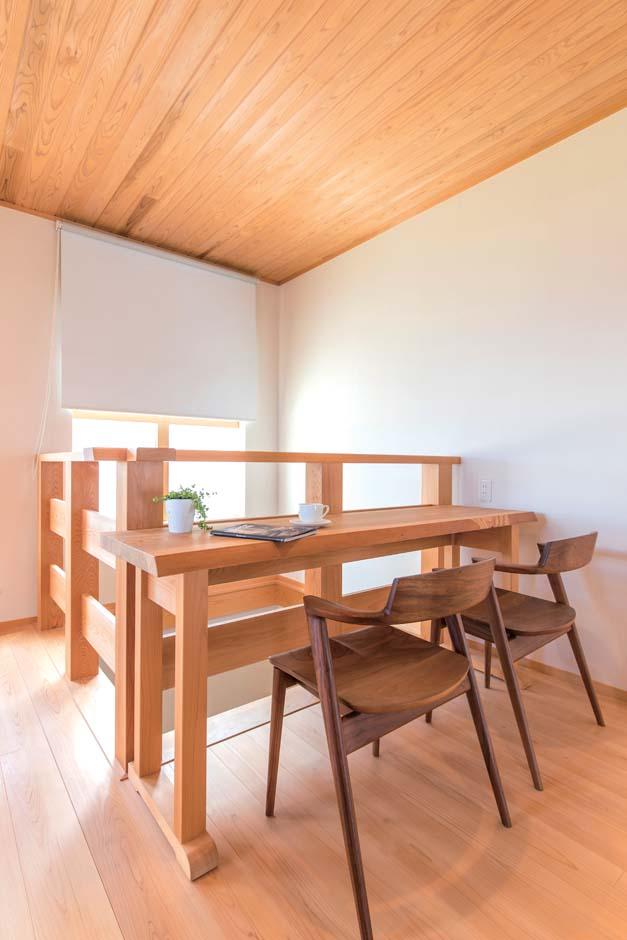 仲田工務店【藤枝市泉町44-10・モデルハウス】吹き抜け上に作ったカウンターは、窓側のスクリーンを降ろすとホームシアターに。1階のソファからも見られる2way仕様だ