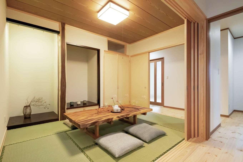 住まいるコーポレーション【二世帯住宅、自然素材、間取り】和室はダイニング側と廊下側の両方を仕切ることができる