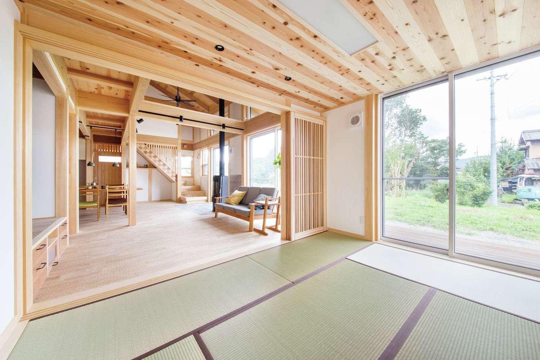 住まい工房 整建【新城市八束穂・モデルハウス】和室からLDKまでが一続きに。建具類まで手作りされ、統一感のある仕上がりに