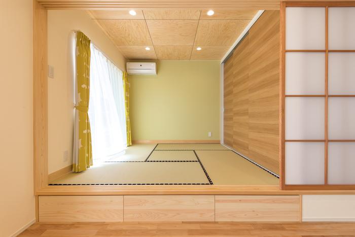 片川工務店【自然素材、間取り、ペット】和室は社長からの提案で和紙畳に。いつまでの色あせないのがポイント