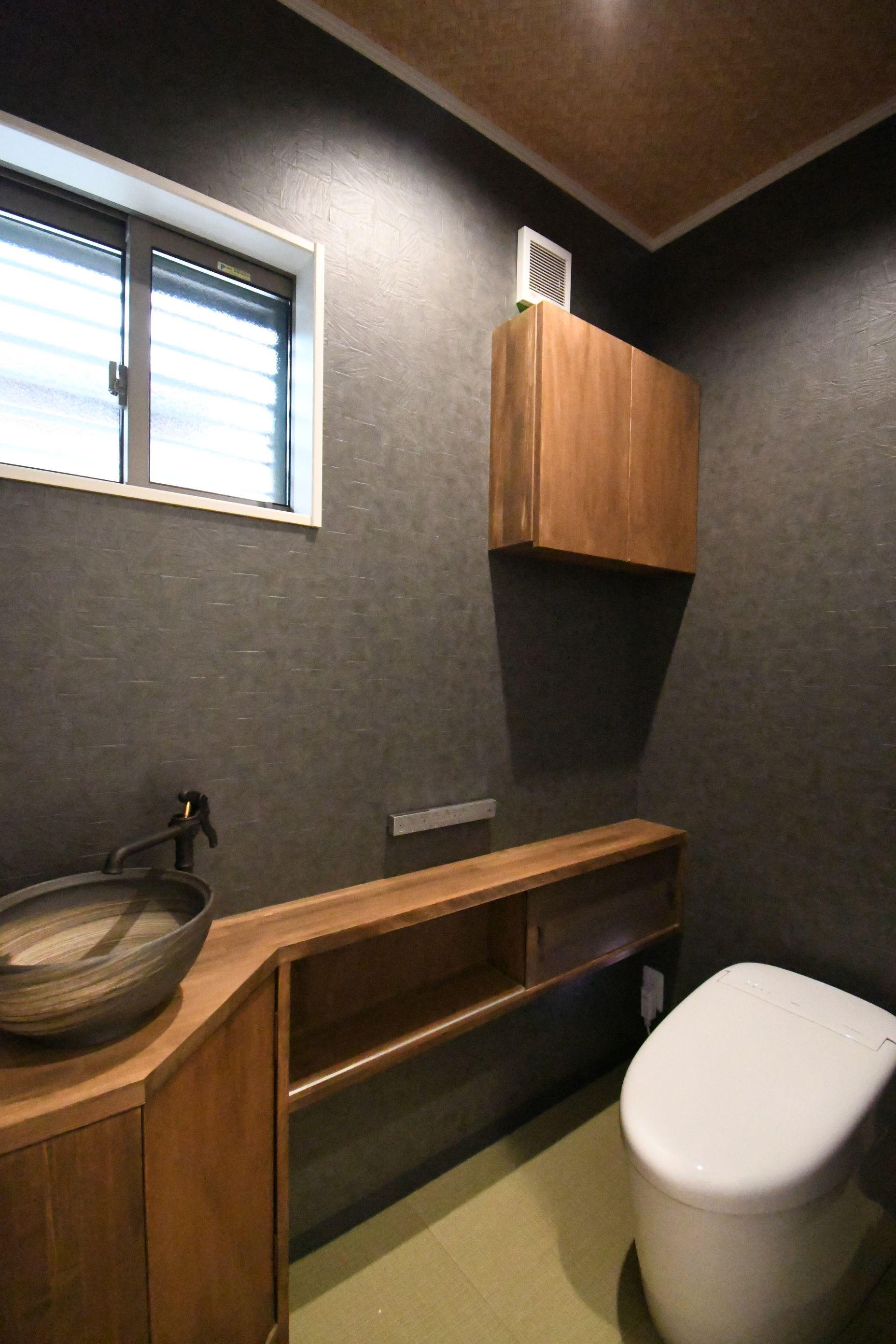 丸七建設興業【デザイン住宅、高級住宅、間取り】シックなデザインに統一されたトイレ