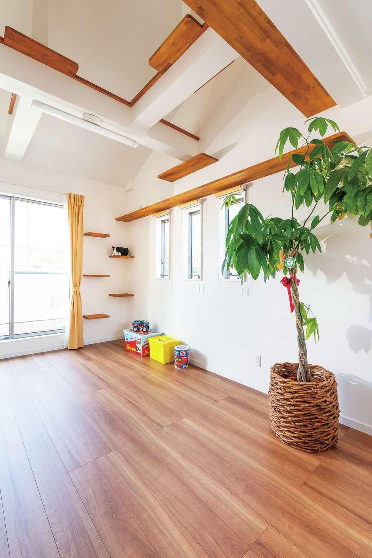 旭建設【富士市浅間本町2-36・モデルハウス】2階には猫専用部屋も用意。梁はキャットウォークに