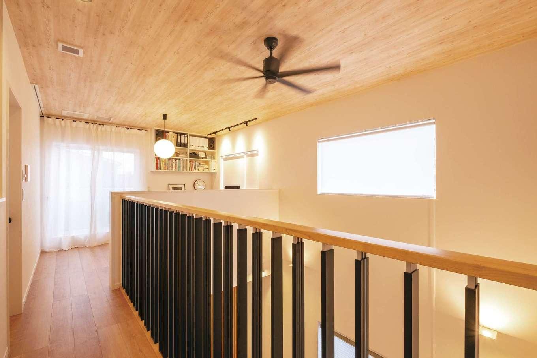 イデキョウホーム【デザイン住宅、省エネ、インテリア】これほど大きな吹抜けがあっても、全館空調システムにより家中の温度差がなく、夏も冬も快適に過ごせる
