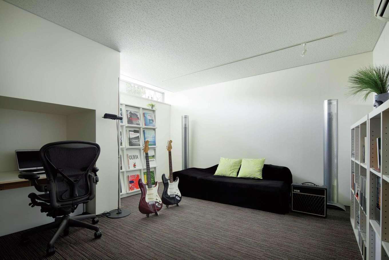 久保田建設【高級住宅、建築家、鉄骨鉄筋コンクリート構造】半地下に設けたサウンドスタジオ