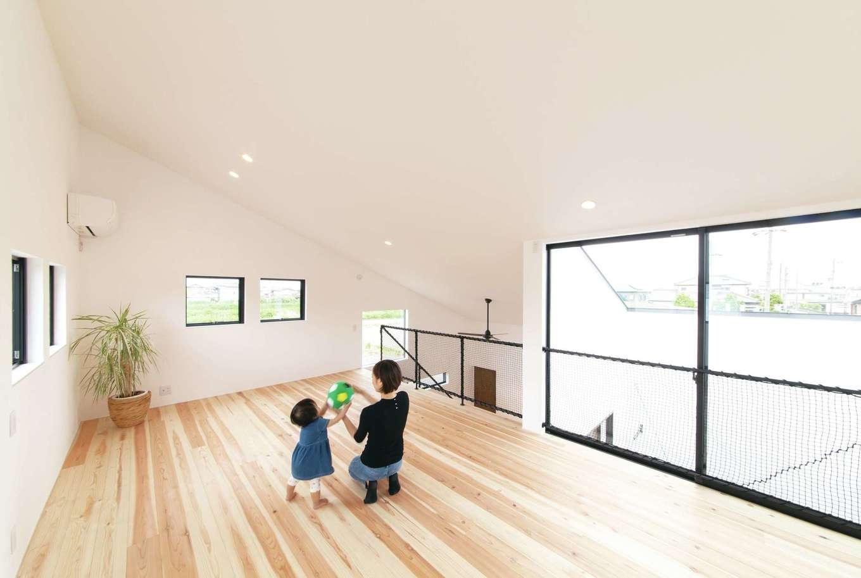 ソラマド静岡(オネストホーム)【子育て、デザイン住宅、間取り】2階は広いワンフロアに。将来子どもが希望したら、個室に仕切る予定