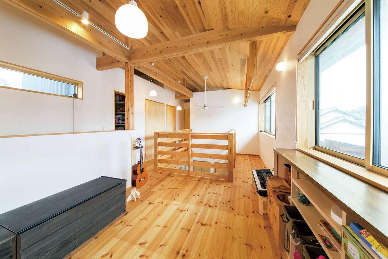 あだちの家。足立建築【子育て、狭小住宅、間取り】2階フリースペースは将来的に子ども部屋にすることも可能