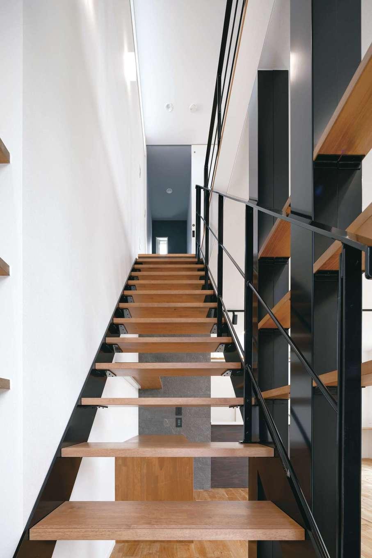 踏み板の奥行きが広く、緩やかな傾斜で安心・安全なストリップ階段