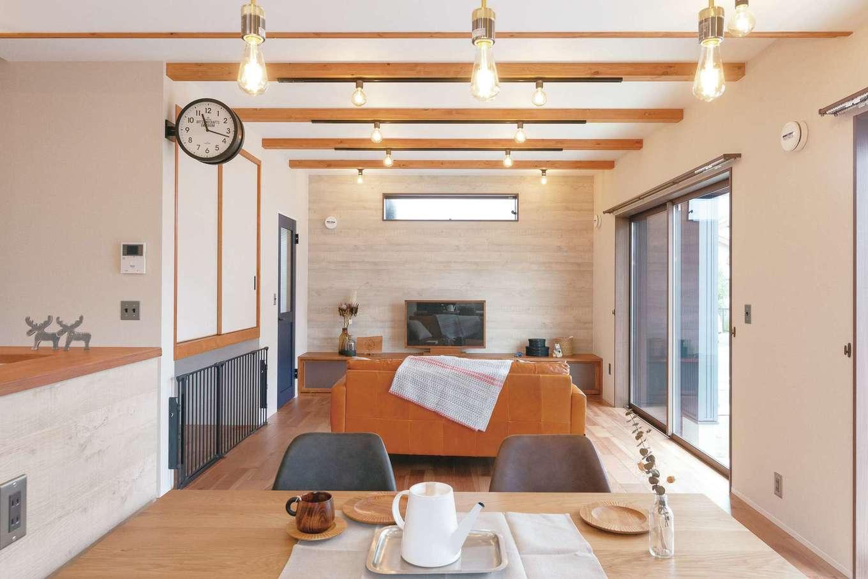 桜建築デザイン【省エネ、間取り、ペット】リビング収納の下にケージスペースを設け、いつも家族と一緒でペットも安心
