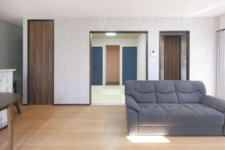 絆家  (きずなや)【デザイン住宅、間取り、ペット】和室をオープンにすれば、より広々と。
