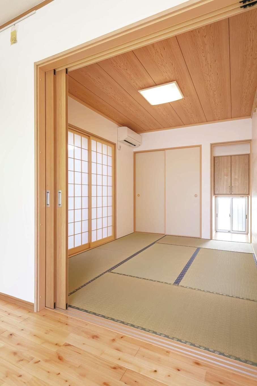 友和建設【自然素材、間取り、平屋】木の香りと漆喰の質感に癒される和室