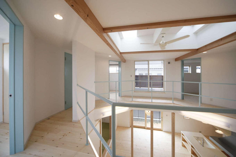 BLUEHOUSE(ブルーハウス)【子育て、自然素材、間取り】六角形の廊下が2階の各室を繋ぐ。プライバシーを確保しつつ、家族のコミュニケーションも配慮されている