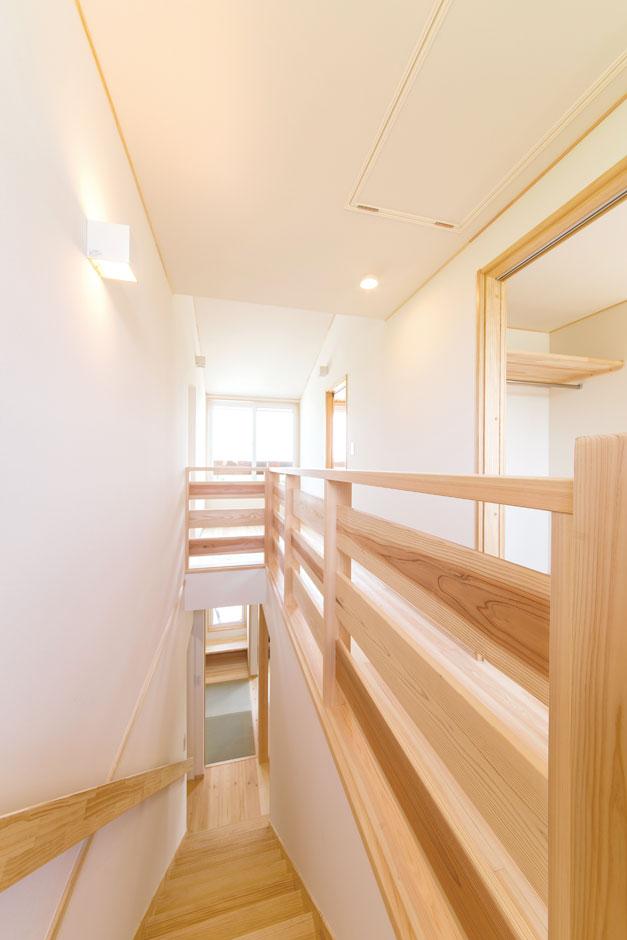 ワイズホーム【子育て、自然素材、間取り】2階の廊下スペースはモデルハウスを参考にした