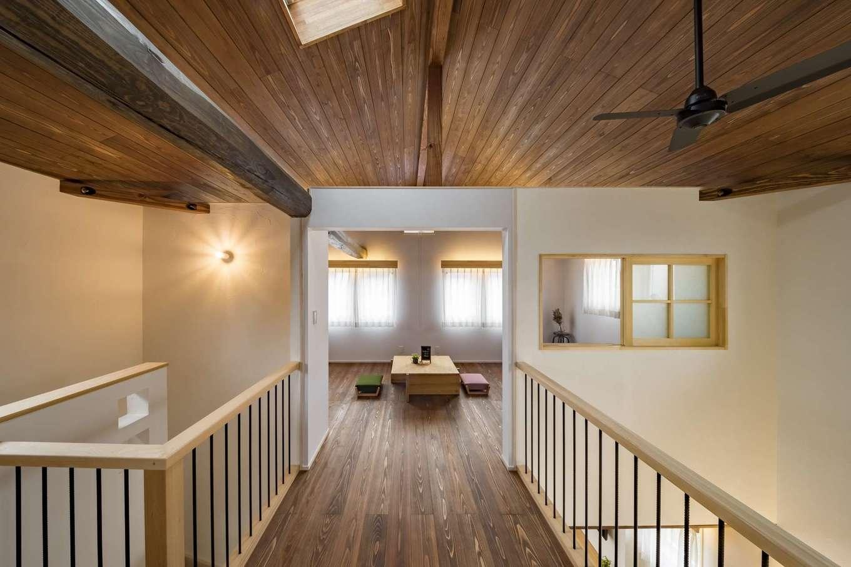 KANAZAWA STYLE/金澤建築【デザイン住宅、収納力、狭小住宅】空中廊下のようなフリースペース。子ども部屋は成長に応じて2間に仕切ることができる。吹抜けに面しているので、1階とのコミュニケーションもスムーズ。勾配天井にトップライトを設けて光を取り込む